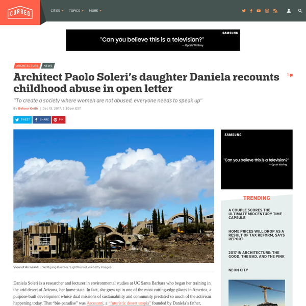 Architect Paolo Soleri's daughter Daniela recounts childhood abuse in open letter