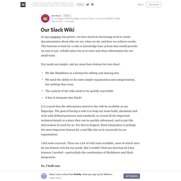 Are na / Our Slack Wiki - Howdy