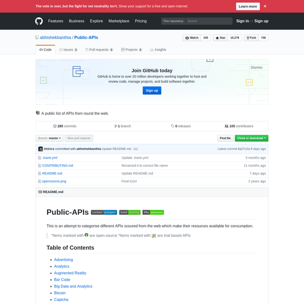 Public-APIs - 📚 A public list of APIs from round the web.