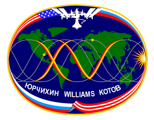 Launch Vehicle: ISS Soyuz 14 (Soyuz TMA-10) April 7, 2007 Landing: October 21, 2007 Astronauts: Fyodor Yurchikhin, Clayton Anderson, Oleg Kotov and Sunita Williams The operational teamwork between human space flight controllers and the on-orbit crew take center stage in this emblem.