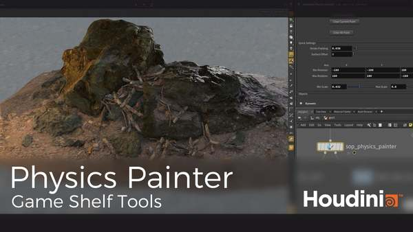 DOWNLOAD: https://www.sidefx.com/tutorials/game-development-toolset-overview/ Physics Painter is a Houdini Digital Asset (HDA) that allows users to paint physics objects onto any other object, and simulate gravity. The result of the previous simulation can be fed into a new iteration of a simulation as often as required.