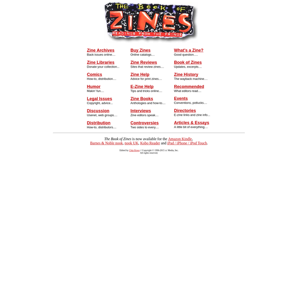 Zines, E-Zines, Fanzines : The Book of Zines : Directory