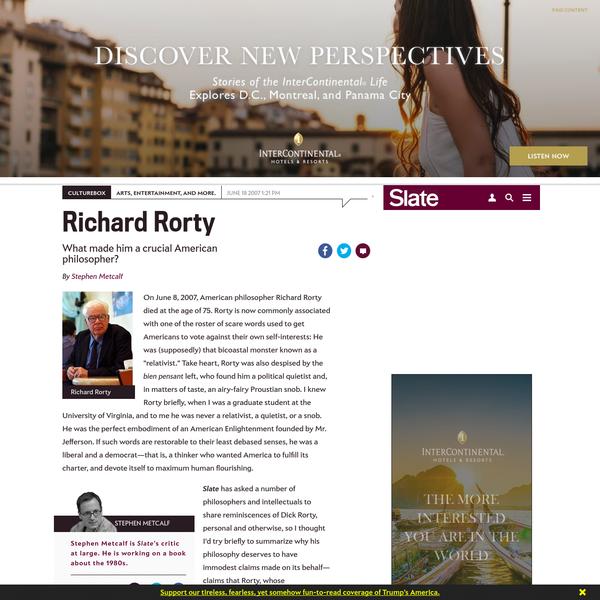 Richard Rorty, remembered.