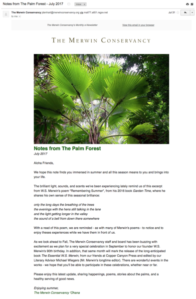 Notes from The Palm Forest - July 2017, The Merwin Conservancy