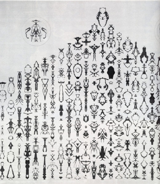 "Bruce Conner, Inkblot Drawing 1990, pen and ink on Arches paper, 22¼ x 27 7/8"". Courtesy Curt Marcus Gallery.  Bomb Magazine: https://bombmagazine.org/articles/two-drawings-11/"
