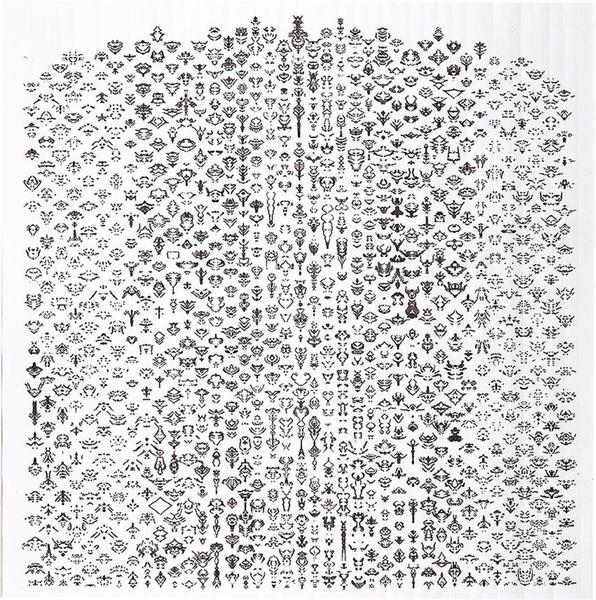 Bruce Conner Anon, 2003 Ink on Bristol paper 23 × 22 9/10 in 58.4 × 58.1 cm  Artsy: https://www.artsy.net/artwork/bruce-conner-anon