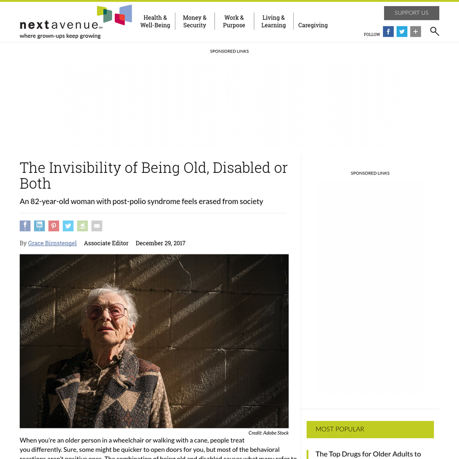 """When you're an older person in a wheelchair or walking with a cane, people treat you differently. Sure, some might be quicker to open doors for you, but most of the behavioral reactions aren't positive ones. The combination of being old and disabled causes what many refer to as """"invisibility."""""""