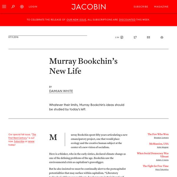 Murray Bookchin's New Life