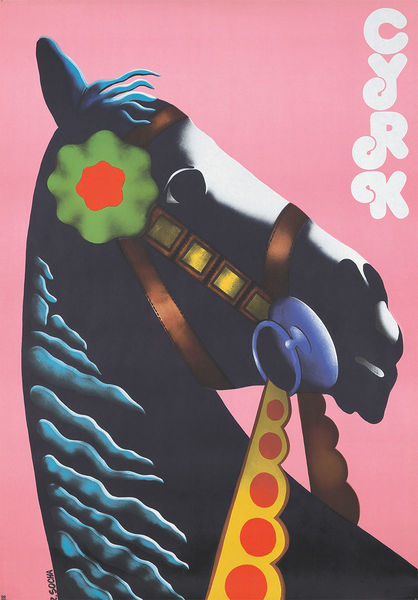 poster by Romuald Socha.  Printed in 1974 in Poland, For the Polish Circus- Cyrk