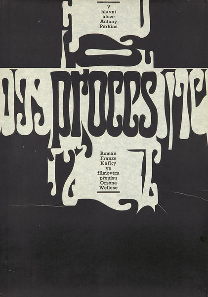 Printed ca 1976, it advertises the Polish release of the film The Trial by Orson Welles, based on the Kafka story.