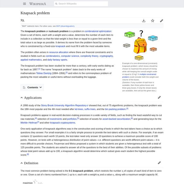 Knapsack problem - Wikipedia