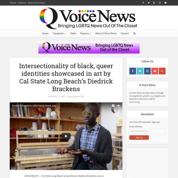 """LONG BEACH - Cal State Long Beach art professor Diedrick Brackens uses a loom to weave stories about racial injustice and the intersectionality of his identity as a queer black man living in America. Brackens says weaving is a language. """"Language is very important,"""" Brackens says."""