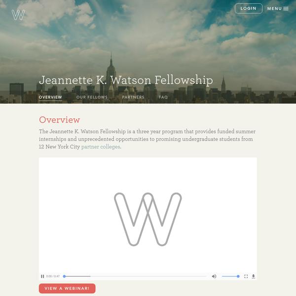 Jeannette K. Watson Fellowship | Watson Foundation