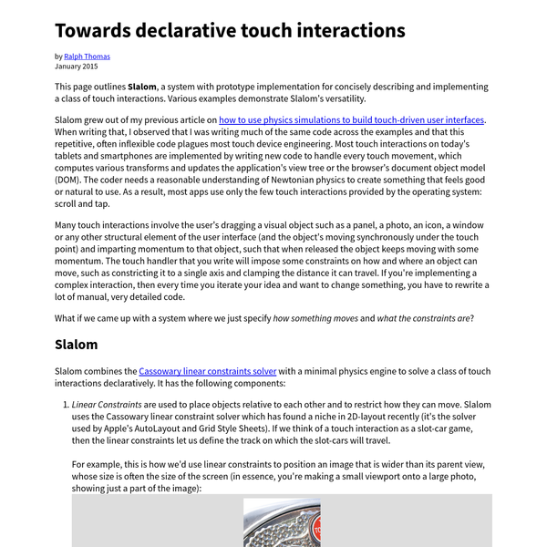 Towards declarative touch interactions