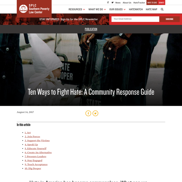 Ten Ways to Fight Hate: A Community Response Guide