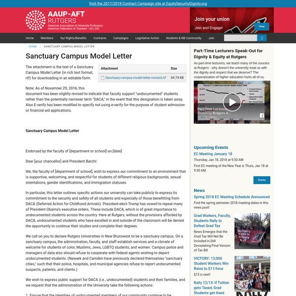 Sanctuary Campus Model Letter | Rutgers AAUP-AFT
