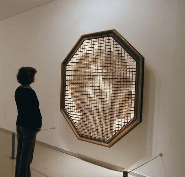 """""""Wooden Mirror"""" (1999) by Daniel Rozin"""