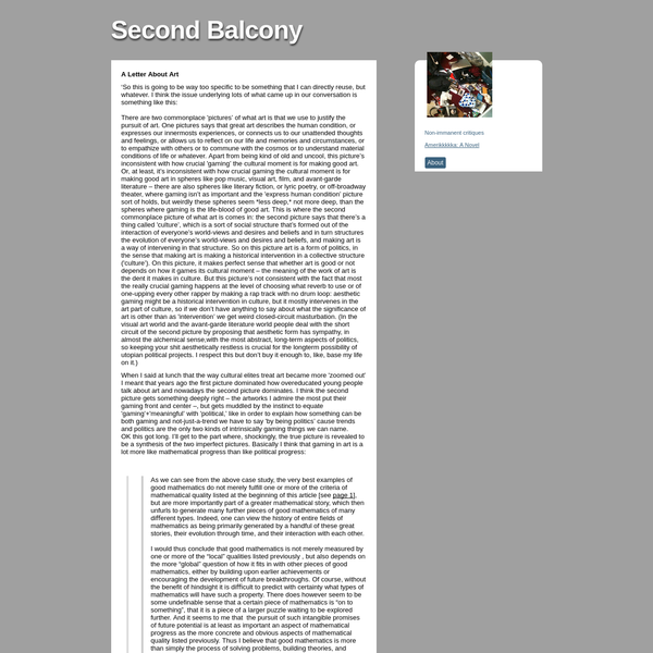 Second Balcony, A Letter About Art 'So this is going to be way...