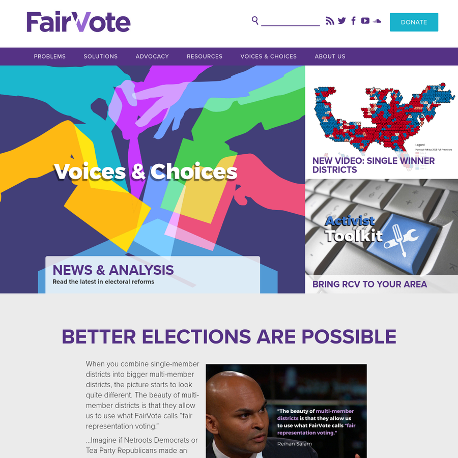 FairVote is a nonpartisan champion of electoral reforms that give voters greater choice, a stronger voice, and a representative democracy that works for all Americans.