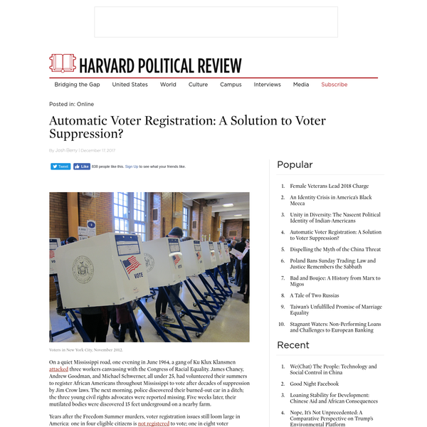 Automatic Voter Registration: A Solution to Voter Suppression?