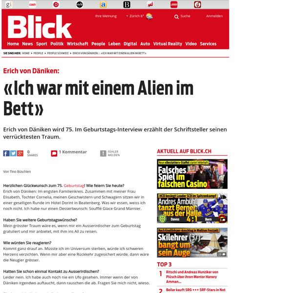 """Erich von Däniken: """"Ich war mit einem Alien im Bett"""""""