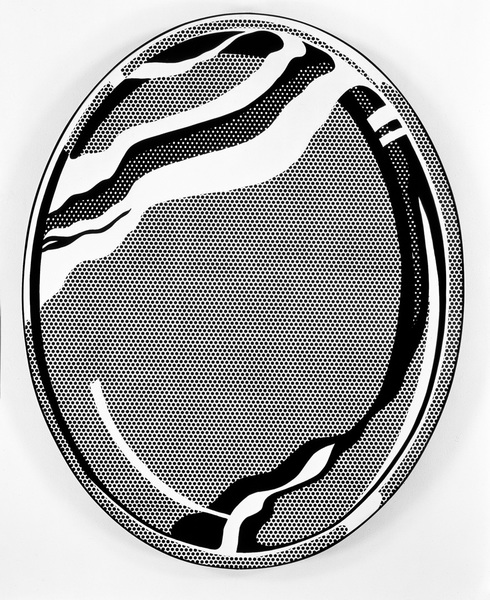 Roy Lichtenstein Mirror #1 1969 oil and Magna on canvas 60 x 48 in. (152.4 x 121.92 cm)  The Broad: https://www.thebroad.org/art/roy-lichtenstein/mirror-1