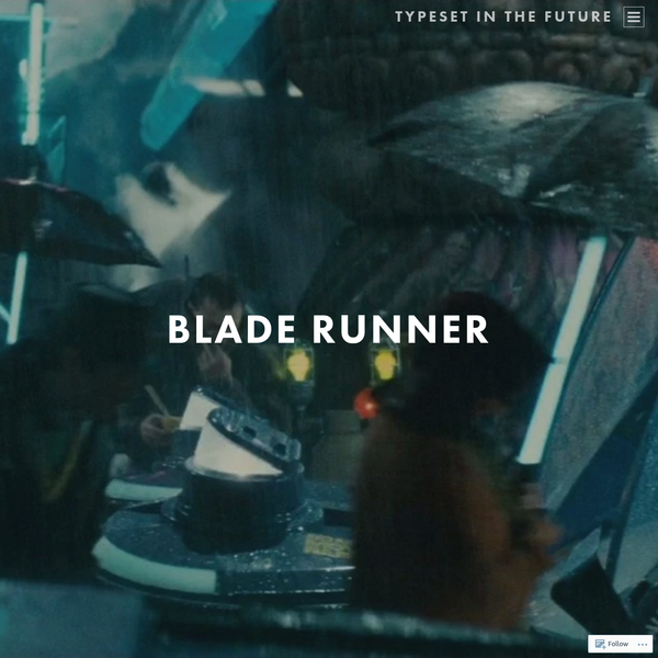 After studying Alien in intimate detail, it's time to look at the typography and design of Ridley Scott's other classic sci-fi movie, Blade Runner. Based on Philip K. Dick's novel Do Androids Dream of Electric Sheep?, Blade Runner cements Scott's reputation for beautiful, gritty, tech noir science fiction.