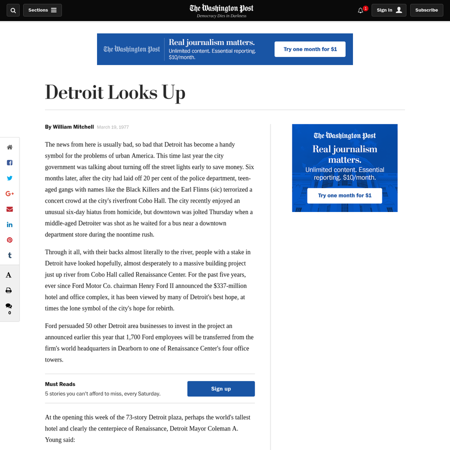The news from here is usually bad, so bad that Detroit has become a handy symbol for the problems of urban America. This time last year the city government was talking about turning off the street lights early to save money.