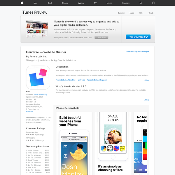 Read reviews, compare customer ratings, see screenshots, and learn more about Universe - Website Builder. Download Universe - Website Builder and enjoy it on your iPhone, iPad, and iPod touch.