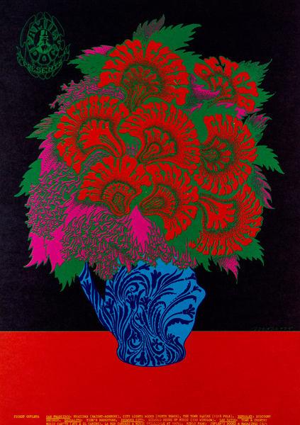 Victor Moscoso - Blue Cheer, Lee Michaels, Clifton Chenier; Avalon Ballroom, October 6-8, 1967 (1967)  Victor Moscoso 1967 printed material offset lithograph 20 x 14 in. (50.8 x 35.56 cm)  SFMOMA: https://www.sfmoma.org/artwork/95.541