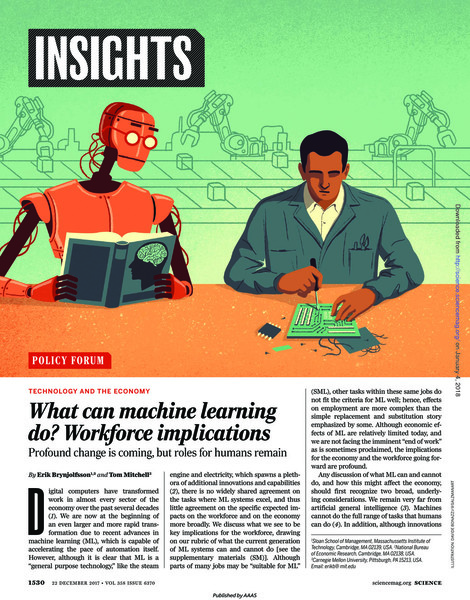 What can machine learning do? Workforce Implications