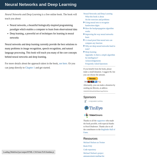 """In academic work, please cite this book as: Michael A. Nielsen, """"Neural Networks and Deep Learning"""", Determination Press, 2015 This work is licensed under a Creative Commons Attribution-NonCommercial 3.0 Unported License. This means you're free to copy, share, and build on this book, but not to sell it."""