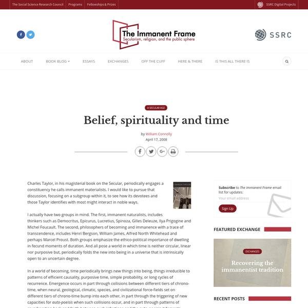 Belief, spirituality and time