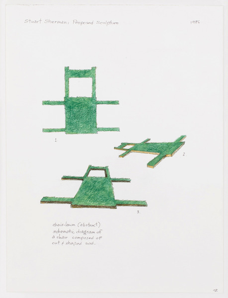 2013.06 Stuart Sherman : Proposed Sculptural Projects..., chair - lawn (abstract), 1986