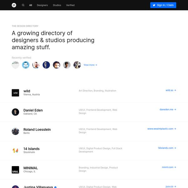 An growing directory of designers & studios producing amazing stuff.