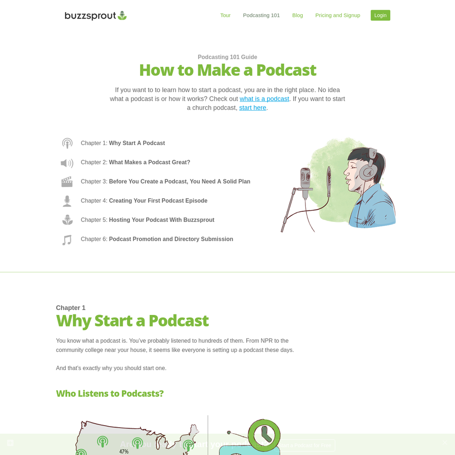 Learn how to make a podcast with this illustrated guide. You will learn how to start a podcast, record and edit your first episode, and promote your podcast.
