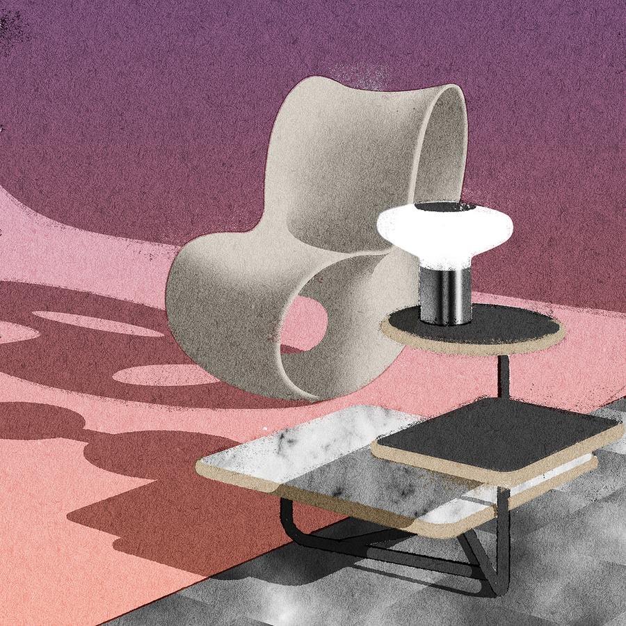 #chair by @ronaradstudio for @magis_official, #table by @poltronafrauofficial, #lamp by @tobiasgrau_official, #illustration by me. #design #interior #architecture #art  #illustration #editorial