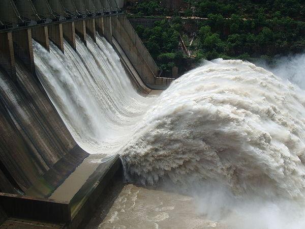 Srisailam Dam with floodgates open,  Kurnool district, Andhra Pradesh, India
