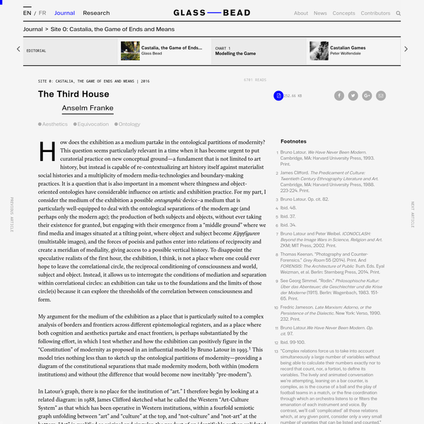 How does the exhibition as a medium partake in the ontological partitions of modernity? This question seems particularly relevant in a time when it has become urgent to put curatorial practice on new conceptual ground-a fundament that is not limited to art history, but instead is capable of re-contextualizing art history itself against materialist social histories and a multiplicity of modern media-technologies and boundary-making practices.