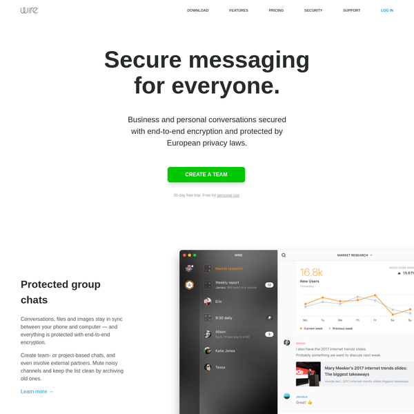 End-to-end encrypted chats, calls and files, protected by European privacy laws.