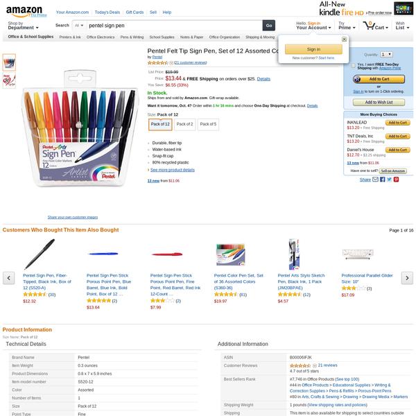 Pentel Felt Tip Sign Pen, Set of 12 Assorted Colors (S520-12)