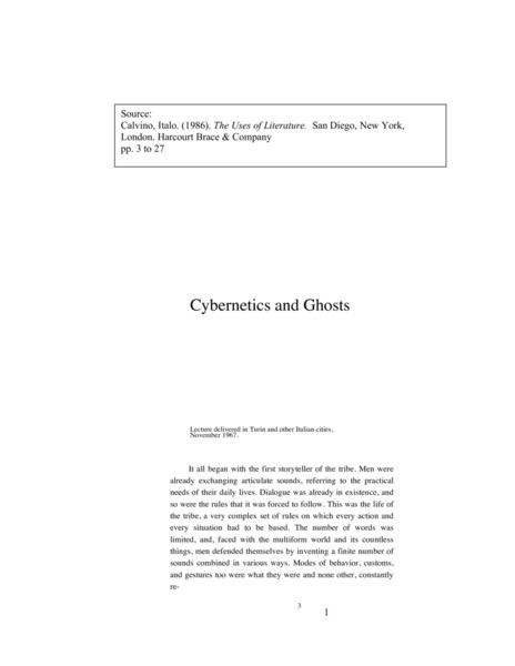 Cybernetics and Ghosts