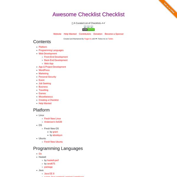 Awesome Checklist Checklist
