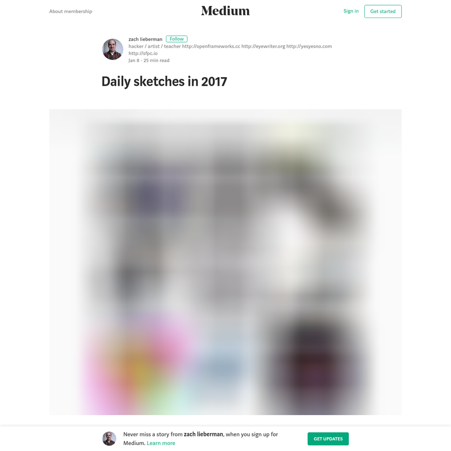 I started the process of doing daily code sketches Jan 1st, 2016. These are small animations I make with code and post on instagram. I wrote about the year-long process in 2016 here. Also, this talk I gave at the AIGA has an overview about daily sketching (as well as a snippet of live coding!).