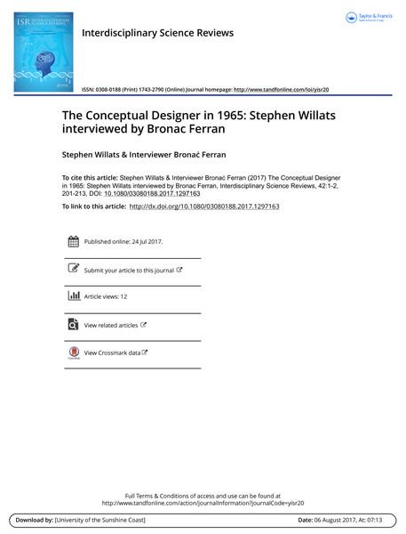 The Conceptual Designer in 1965: Stephen Willats interviewed by Bronac Ferran
