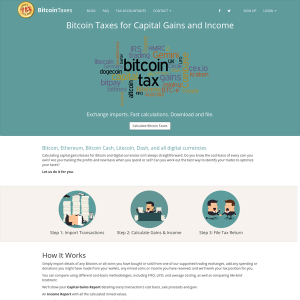 Calculate Bitcoin taxes of capital gains and income for Bitcoin, Ethererum, and other alt-coins from trading, spending, donations / tipping and mining.
