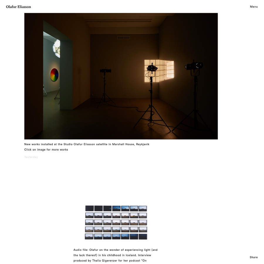Official website of Olafur Eliasson and his studio: Studio Olafur Eliasson