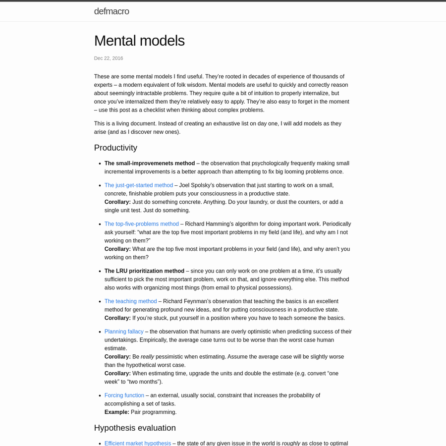 These are some mental models I find useful. They're rooted in decades of experience of thousands of experts - a modern equivalent of folk wisdom. Mental mode...