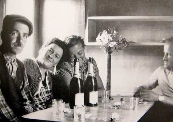 Charlotte Perriand France 1938 With Pierre Jeanneret to the right. Why so grumpy looking Pierre?