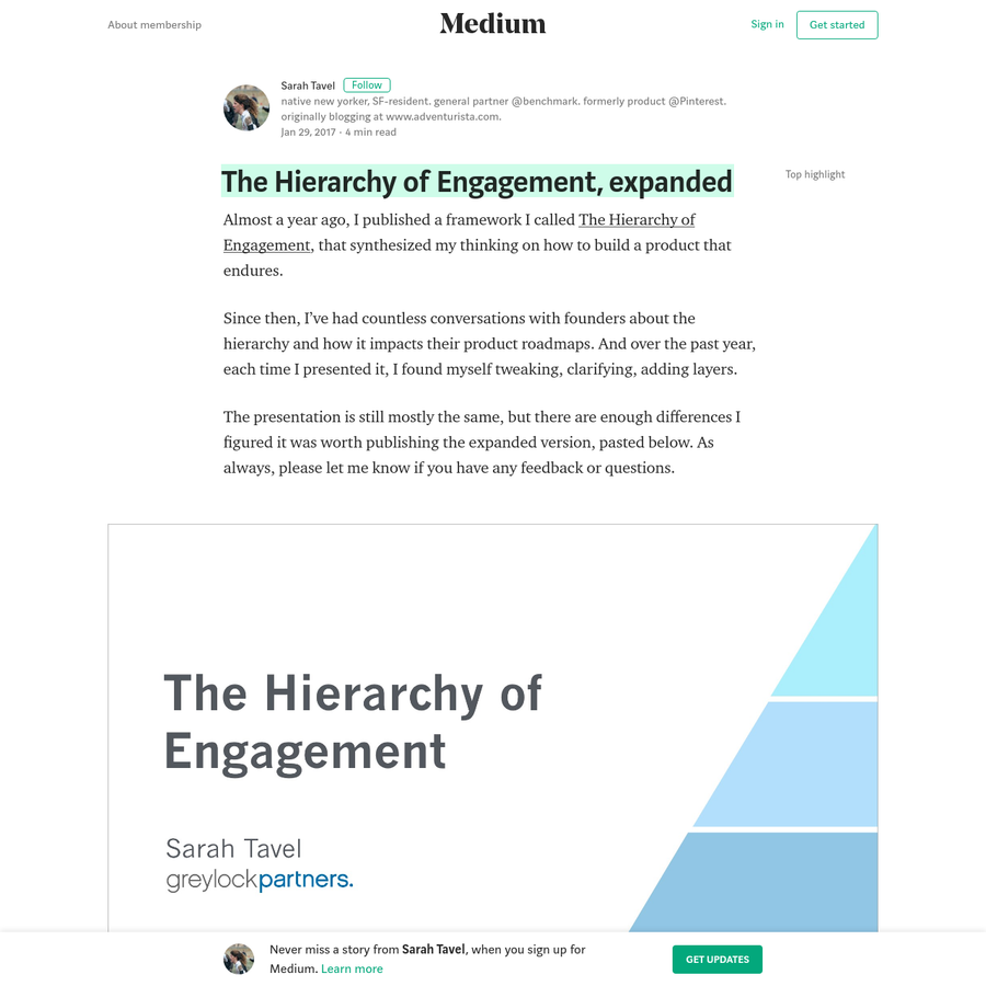 Almost a year ago, I published a framework I called The Hierarchy of Engagement, that synthesized my thinking on how to build a product that endures. Since then, I've had countless conversations with founders about the hierarchy and how it impacts their product roadmaps.